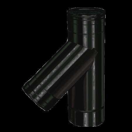Røgrør - uisoleret - T sektion, 45 grader med sodskål - ø 80 mm
