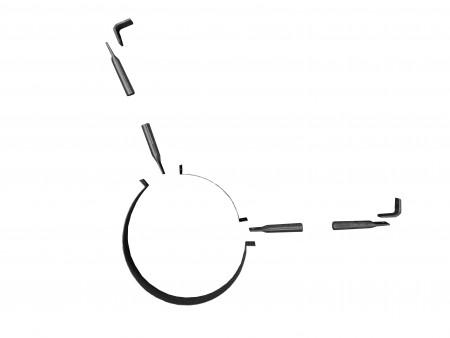 Støttebeslag til tag - ø 80 mm - sortlak
