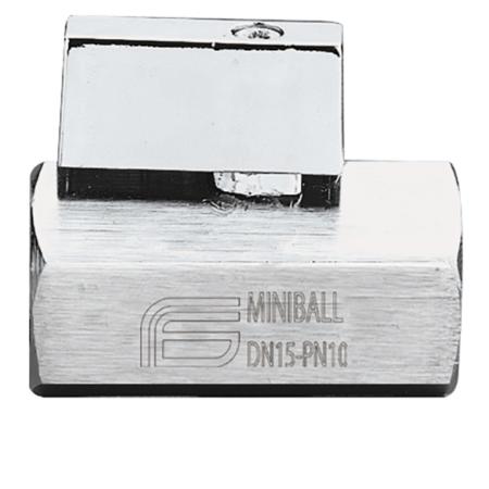 Miniball kugleventil muf/muf med T-hdt. i krom