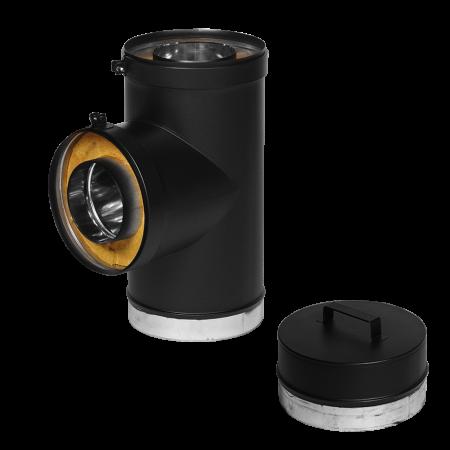 T90 150 TWST-B, T sektion med sodskål eller renselåge – ø150 mm – sortlak